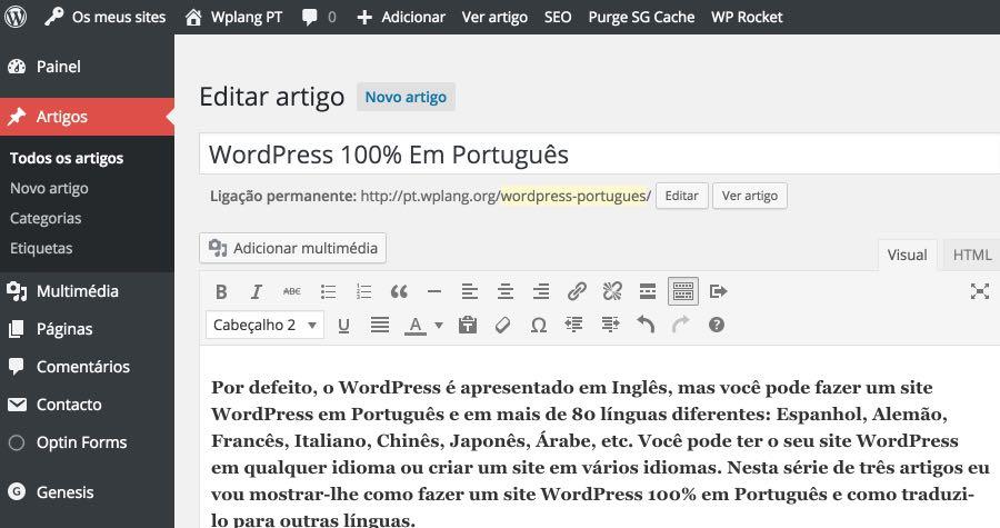 WordPress - Crie conteudo Portugues
